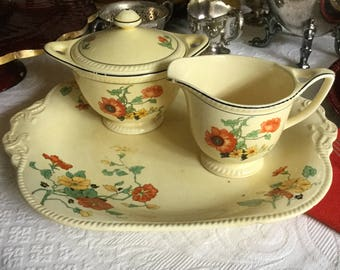 Antique Sebring Pottery Company Golden Maize Nasturtium Platter Poppy Creamer/Sugar Bowl/Lid-Yellow/Orange/Green/Black