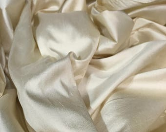 Ivory Silk Dupioni, Stiff Material, Ivory Material, Dress Fabric, Opaque Material, Remnant Fabric, Remnant Material, Silk Shantung