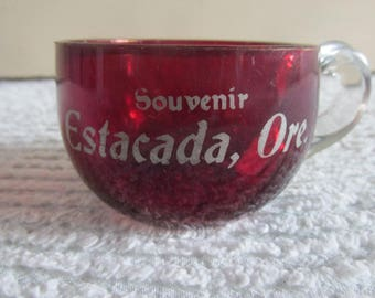 Red Flash Glass Souvenir Estacada Oregon Cup