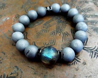 Grey Druzy Stone and Labradorite Series Basha Bead Stretch Gemstone Boho Bracelet