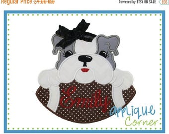 50% Off INSTANT DOWNLOAD Bulldog Girl on Football applique digital design for embroidery machine by Applique Corner