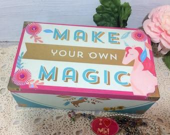 Unicorn Jewelry Box, Girl's Jewelry Box, Pink Purple Unicorn Keepsake Box Inspirational Jewelry box, Girl's Trinket Box, Accessories Storage