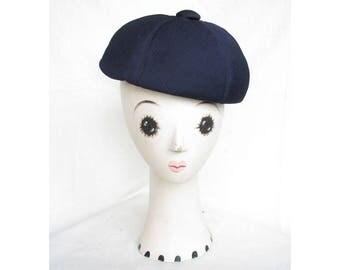 Vintage 1960s Hat SAKS Beret Channel-Stitched Wool Jersey