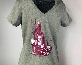 Idaho Wine Vneck Tshirt, Idaho souvenir, made in Idaho, Idaho tee, Idaho made, Wine design, Idaho apparel, Idahome, Idaho Wearables
