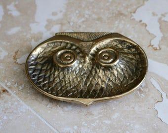 Brass owl trinket dish, owl face trinket dish, brass owl, footed trinket dish, funky owl dish, owl ashtray, mid century modern decor