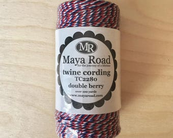 Maya Road Twine Cording. Double Berry (red, white, blue). Over 100 yards.