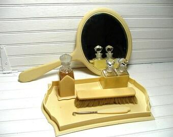 Vintage Vanity Set - Bakelite / Celluloid Vanity Set - Perfume Bottles - Hand Mirror - Beauty Set - Vanity Tray