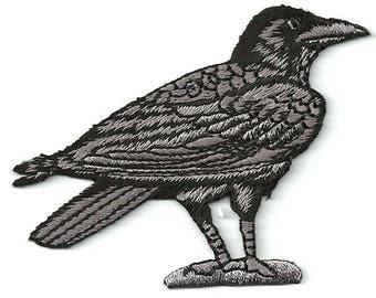 Raven - Crow - Bird - Corvus - Embroidered Black/Gray Iron On Patch - R