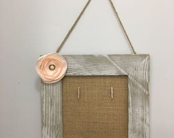 Shabby Chic Love at first sign Hand-painted Hanging Picture Frame with Peachy pearl Flower