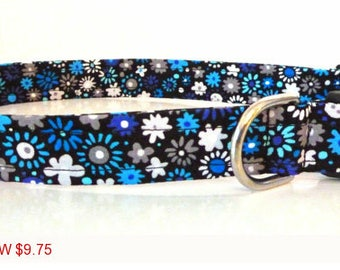 "Sale - 50% Off - Multi-Blue Floral Dog Collar - Black with Blue & Grey Flowers-""Rochelle""- Free Colored Buckle"