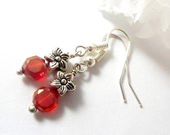 Orange Earrings w Silver Accents, Delicate Earrings Simple Earrings Womens Jewelry, Boho Chic Fashion Earrings, Dainty Cute Earrings