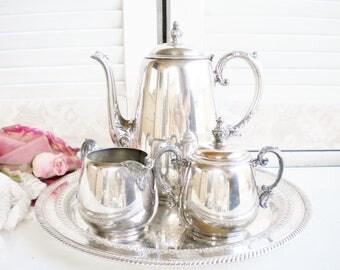 Vintage WM Rogers Tea Set, Coffee Set With Tray/ 4 Piece Tea Set/Wedding Tea Set/Shabby Vintage /Home Decor/Tea Party