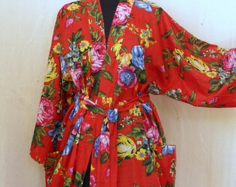 Kimono red dressing gown cotton Shalimar