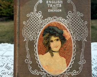 17% OFF SALE Ralph Waldo Emerson/Antique Hardcover Book/English Traits/1885 Hurst & Co /Emerson in England/ Chapters on Wealth Religion Trut