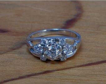 DEADsy LAST GASP SALE Near One Carat t.w. Antique Engagement Ring Art Deco Diamond 14K White Gold Antique Diamonds,  .83 Carat t.w. Engageme