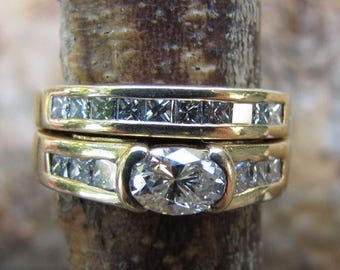 DEADsy LAST GASP SALE Designer Engagement Ring //1.62ct Vs Diamond Band // Half Carat Oval Diamond in 14K Yellow Gold // Vintage Channel Set