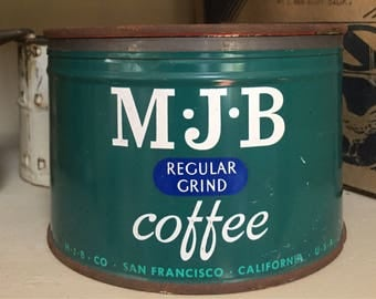 MJB vintage coffee tin, San Francisco, CA, teal green, lidded, retro kitchen storage and decor, 1950's era