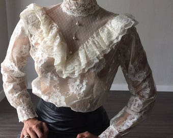 Vintage Edwardian Style Lace Blouse with Peplum Small / 1960s Lace Ruffled Collar with Pearly Buttons and Elastic Waist
