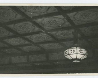 Vintage Snapshot Photo: Ceiling Fixture Lamp, c1940s (69505)