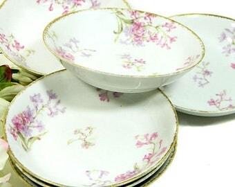 Six Antique Charles Field Haviland GDA Limoges Small Fruit Bowls Pink Floral