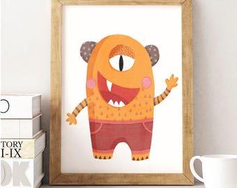 Monster print, Monster Illustration, Kids room decor, Monster kids Print, Nursery print, Monster Wall art, Funny monster, Orange monster