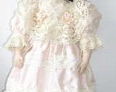 FRENCH BRU JUNE 11 Pretty  Antique Reproduction 51cm Bebe dressed in pure silk
