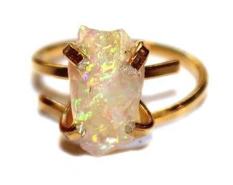 Raw Opal Ring Brazilian Opal Boi Morto Opal Ring Natural Opal Jewelry Fairy Light Opal Gold Opal Ring Adjustable Ring Petite Opal
