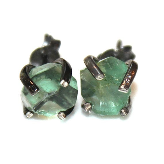 Raw Fluorite Stud Earring in Black Gold