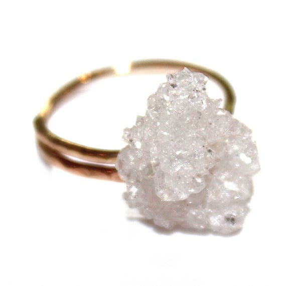 Druzy Ring Drusy Ring Druzy Jewelry Sparkly Ring Raw Ring Adjustable Ring Gold Filled Ring Natural Stone Ring Drussy Ring Geode Ring