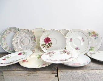 Vintage China - 12 Mismatched Plates - Flea Market Chic - Pink Flowered Plates