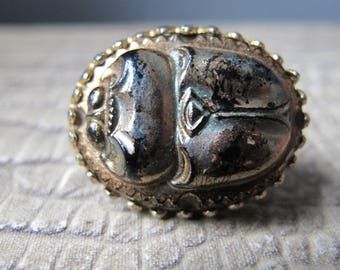 SCARAB PIN, Petite or Small Size Brooch. Patent #2066969 . Wonderful Egyptian Style Scarab Pin, Gold Tone, Glass Look Fertility, Good Luck