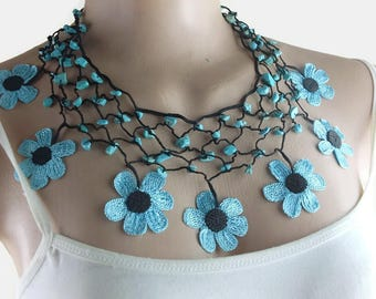 Crochet Necklace Statement Necklace Beaded Necklace Boho Necklace Daisy Necklace Floral Necklace Oya Necklace Handmade Necklace Gift For Her