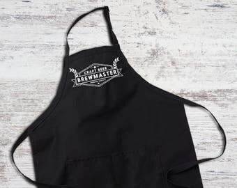 Craft Beer Black Full Length Apron with Pockets