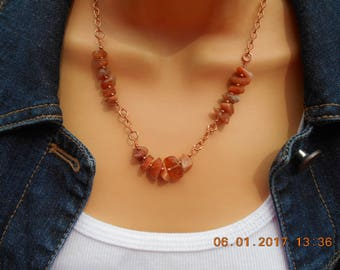Sunstone necklace, Sunstone copper chain necklace, natural Sunstone necklace