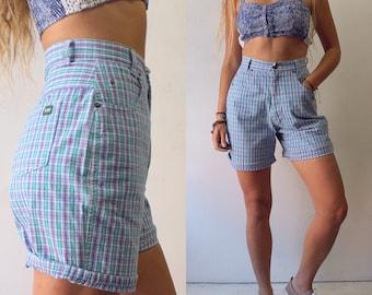 90s plaid highwaisted shorts sz small