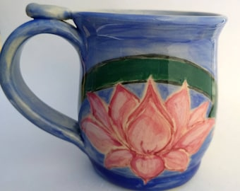 Lotus Flowers mug, Pink Green and Blue, #3, 12oz