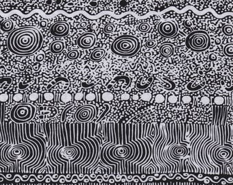 M & S Textiles, Australian Aboriginal Fabric, My Country Utopia, Black, 100% cotton