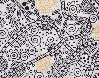 M & S Textiles, Australian Aboriginal Fabric, Bush Tucker, White, 100% cotton