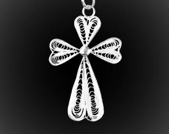 Filigree Cross pendant in silver embroidery