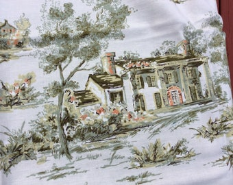 Vintage fabric southern scenes cotton toile