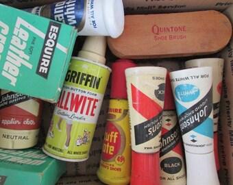 Shoe Shine Polish Brush Leather Cream Allwite Johnson Vintage Boxed Lot Movie Prop