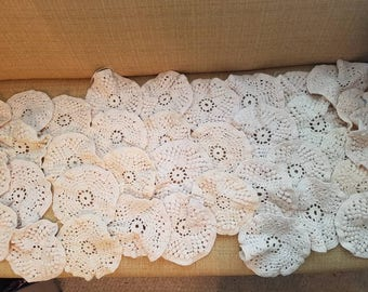 Vintage embroidered, crochet, circles, project,