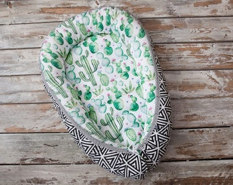 Baby nest, baby lounger, baby change pad, cactus, green, B&W