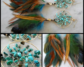 Turquoise Bohemian Hippie Tribal Gold Dream Catcher Earrings with Hand Arranged Feathers by The Emerald Lotus