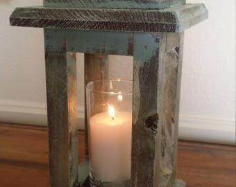 Handmade Rustic Wood Lantern Candle Holder