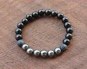 Stärke Armband, schwarzer Obsidian, Heilung, Meditation, Yoga-Armband, Handgelenk Mala, Hämatit Armband, Schutz Armband