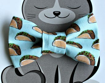 Taco Bow Tie for Cat or Dog, Pet Clothing, Slide on Collar Accessory, Pet Bowtie, Made in Canada, Food, Collar NOT included, Tacos Tuesday