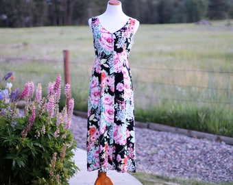 Vintage Shabby Floral Garden Party Dress Women's 1990's Flowy Boho Rayon Dresses Size 9/10