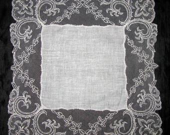 Wedding hankies, Irish linen hankerchief white vintage lace, something old gift for bride