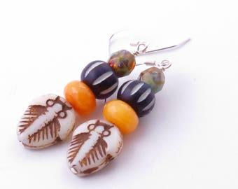 Rustic Trilobite Ethnic Earrings Bohemian Style Earrings,  Nature Earrings Trilobite Earrings